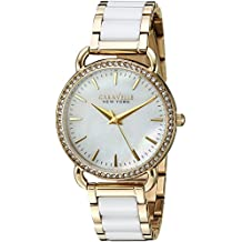 Caravelle New York Women's Quartz Stainless Steel and Ceramic Casual Watch, Color:Two Tone (Model: 44L172)