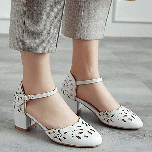 sandalias de tobillo el blanca en correa mujeres Zapatos con con cerrada Coolcept verano de punta para qgwdw5