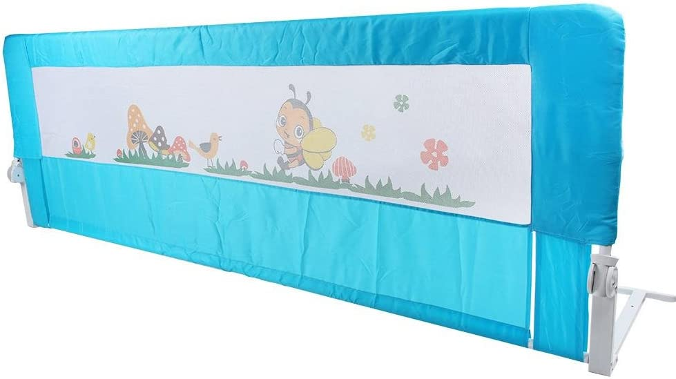 EBTOOLS 180 cm Barandilla de Cama Plegable para Infantil, Riel de Cama Anti-Caída de Seguridad para Niños Pequeños, Protección de Guardia de Sueño para Bebé, Azul