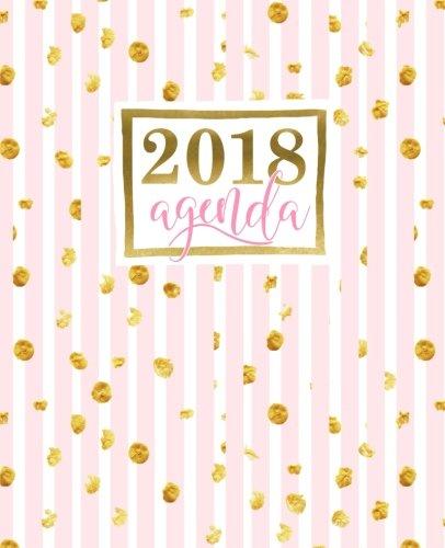 Agenda: 2018 Agenda settimanale italiano : 19x23cm : Strisce rosa con macchie dorate (Calendari, agende, rubriche, organizar...