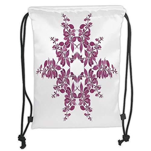 New Fashion Gym Drawstring Backpacks Bags,Purple,Autumn Vine Bridal Flower Bouquet Vintage Style Circle of Leaves Laurel Wreath,Violet White Soft Satin,Adjustable String Closure,T -