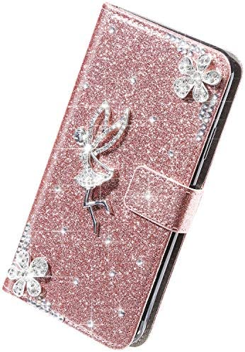Herbests Kompatibel mit iPhone 11 Hülle Leder Handyhülle Mädchen Diamant Bling Strass Glitzer Blumen Handytasche Flip Case Brieftasche Klapphülle Schutzhülle Magnet,Rose Gold