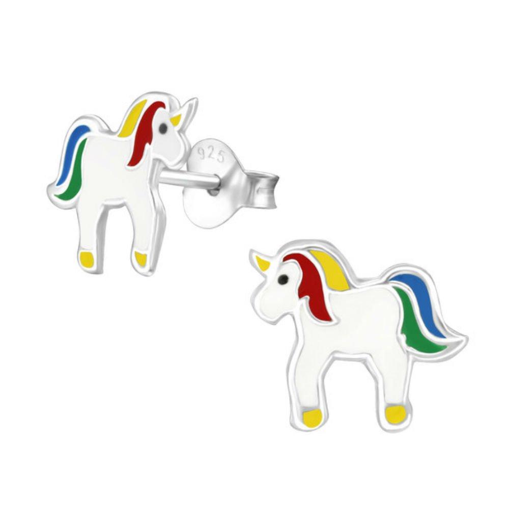 Argent sterling 925Unicorn Rainbow Boucles d'oreille à tige avec sac cadeau Silver Belle SB028