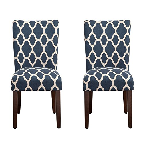 HomePop Parsons Classic Upholstered Accent Dining Chair, Set of 2, Navy and Cream Geometric