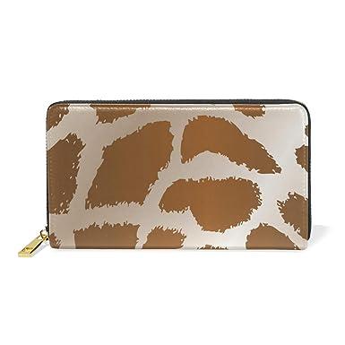 b1241d43a547 Animal Skins Giraffe Leather Large Long Zipper Clutch Women Wallet ...