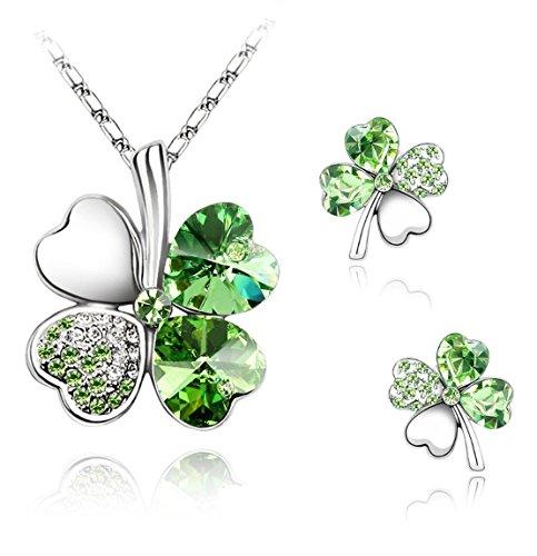 KATGI Austrian Crystal Four Leaf Clover Pendant Necklace and Earrings Set