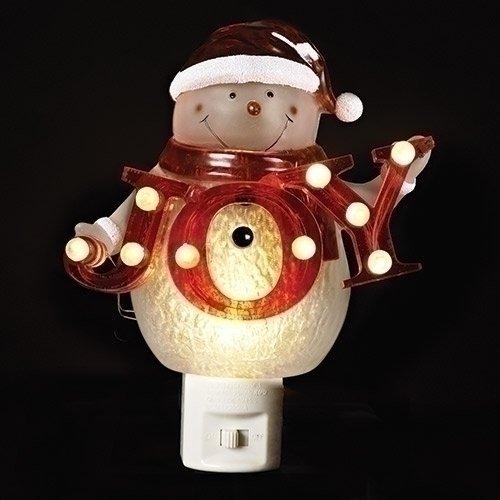 Snowman Joy Sign 6.5 inch Acrylic Christmas Plug-in Night-light Decoration