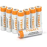 TYBATT 8-Pack Rechargeable AA Batteries 2000mAh Ni-MH Rechargeable Batteries High Performance 1200 Cycle, Battery Case Included