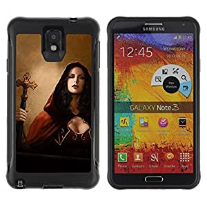 Hybrid Anti-Shock Defend Case for Samsung Galaxy Note 3 / Goth Woman Priest Vampire