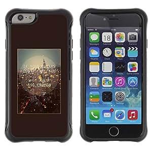 Híbridos estuche rígido plástico de protección con soporte para el Apple iPhone 6 (4.7) - London England quote brown text