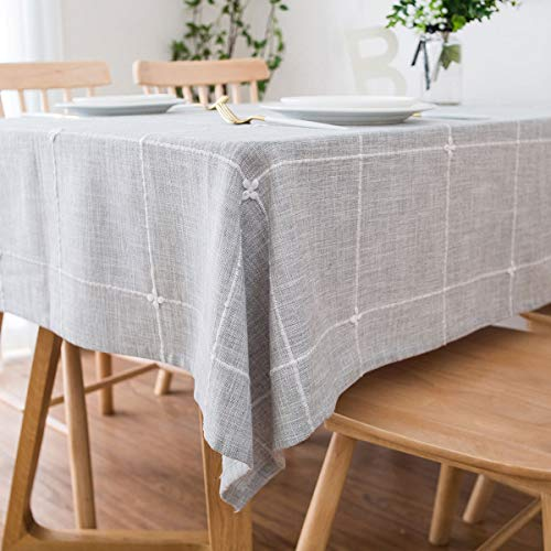 famibay Solid Embroidery Lattice Tablecloth Cotton Linen Dust-Proof Table Cover for Kitchen Dinning Tabletop Decoration (Rectangle/Oblong, 52 x 70 Inch, Grey)