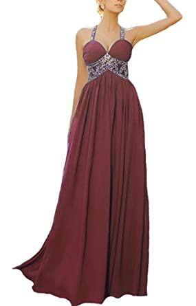 Gralre Womens Prom Dresses Halter Sweetheart A Line Long Chiffon Beaded Formal Evening Gowns Burgundy US2