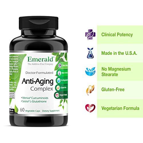 51XUnY1qUhL - Anti-Aging Complex - with L-Glutathione, Resveratrol, CoQ10, R-Alpha Lipoic Acid, Meriva, Pomegranate, & More - Emerald Laboratories (Rainforest) - 60 Vegetable Capsules