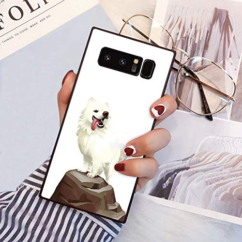 Square Samoyed Dog Samsung Galaxy Note 8 Case, JQLOVE All-Inclusive Full-Body Shockproof Protective Phone Cover, Case for Samsung Galaxy Note 8 Samoyed Dog ()