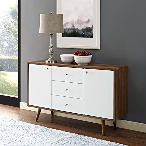 Modway Transmit Sideboard, Walnut White