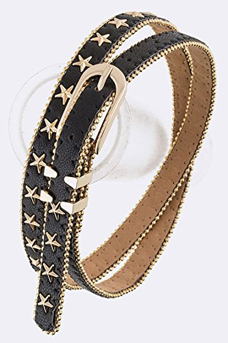 Trendy Fashion Jewelry Star Studs Skinny Fashion Belt By Fashion Destination | (Black)