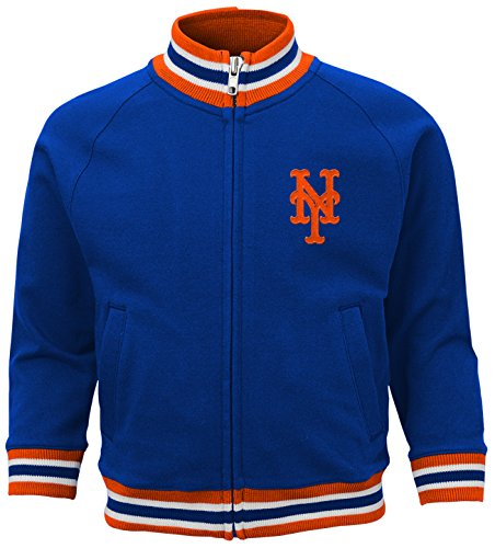 MLB New York Mets Boys 4-7 Baseball Run Track Jacket-M (5-6), Deep Royal New York Mets Jackets
