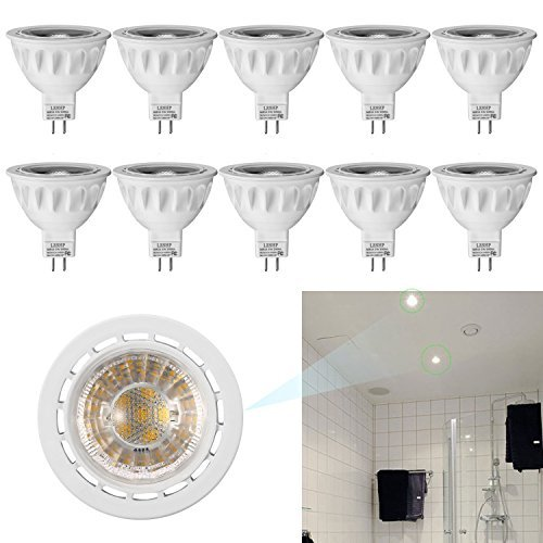 (Pack of 10) LESHP MR16 LED Spotlight Recessed Landscape Track Lighting Flood Bulbs Bi Pin GU5.3 Base AC/DC12V 5W 50 Watt Halogen Replacement 4000K 40° Beam Angle Not Dimmable UL Listed