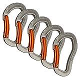 Fusion Climb Techno Zoom Bent Gate Ergonomic Carabiner Gray/Orange 5-Pack