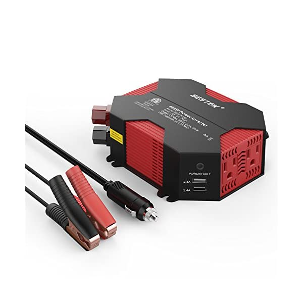BESTEK 400W Power Inverter DC 12V To AC 110V Car Adapter With 5A 4 USB Charging Ports