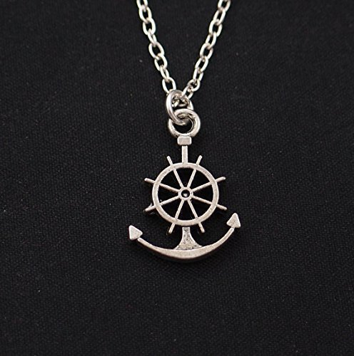 (Anchor Necklace, Long Necklace Option, Silver Ship Wheel Charm, Ships Helm,Best Friend Gift,Nautical Jewelry,Friendship Jewelry,BFF Necklace)