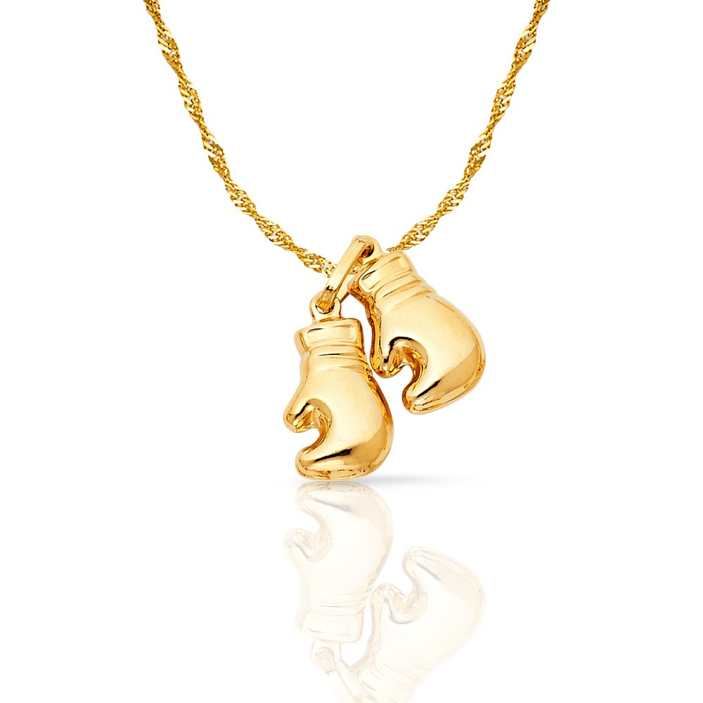 14K Yellow Gold Dual Boxing Glove Charm Pendant with 1.2mm Singapore Chain Necklace
