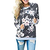 Women Pullover Sweatshirt,Napoo Autumn Winter Floral Print Loose Hoodie Tops Blouse (S, Dark Gray)