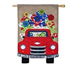 Cheap Evergreen Flag Red Truck Flowers Burlap House Flag, 28 x 44 inches
