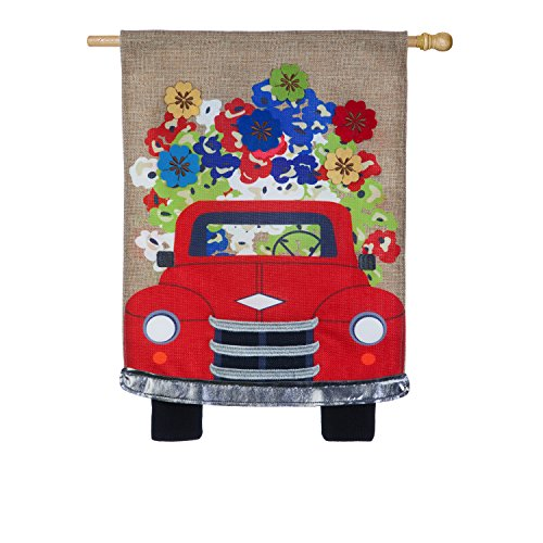 Evergreen Flag Red Truck Flowers Burlap House Flag, 28 x 44