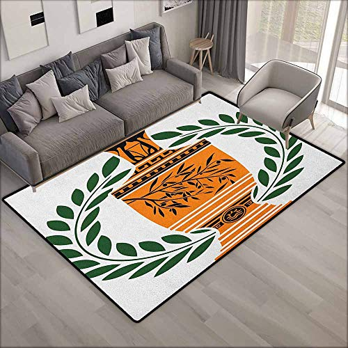 Living Room Rug,Toga Party Old Antique Greek Vase with Olive Branch Motif and Laurel Wreath,Anti-Static, Water-Repellent Rugs,5'10