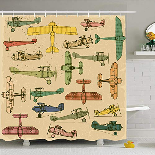 (Ahawoso Shower Curtain 60x72 Inches Air Blue Aeroplane Airplanes Retro Pattern On Vintage Defense Plane Yellow Model Old Abstract Waterproof Polyester Fabric Bathroom Curtains Set with Hooks)