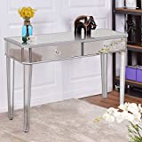 Tangkula Silver Mirrored Table Home Vantity Make-up Desk Console with Drawers
