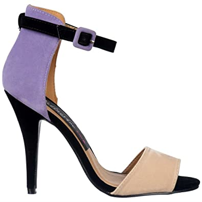 355742cfd Onlineshoe Ladies Peep Toe Mid Heels - High Back Strappy Sandals - Lilac  Nude Black Suede