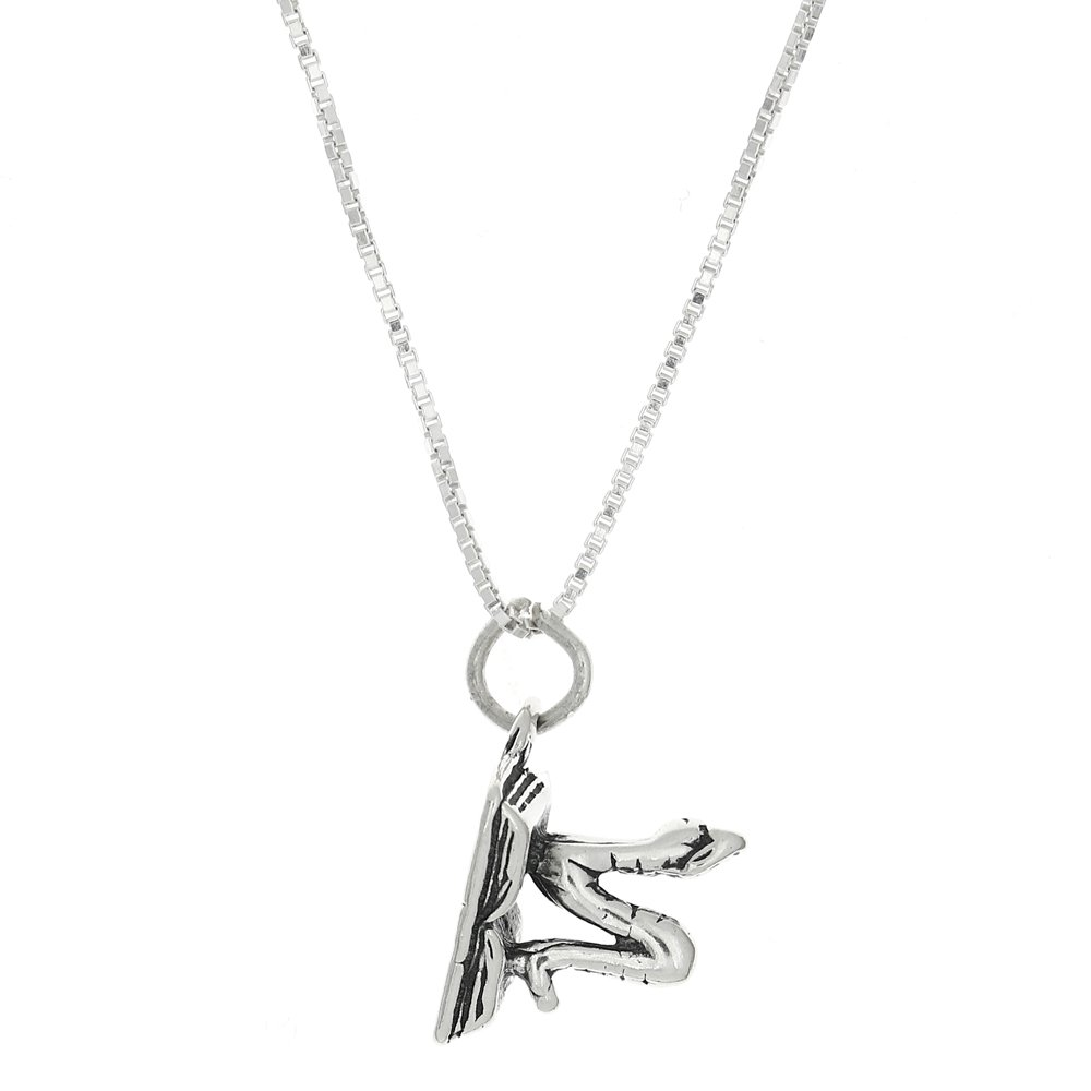 Sterling Silver Three Dimensional Open Book Worm Necklace