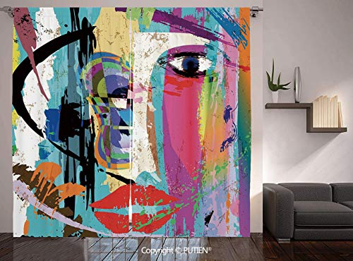 Thermal Insulated Blackout Window Curtain [ Abstract,Woman Face Art Composition with Paint Strokes and Splashes Eye Red Lips Grungy Decorative,Multicolor ] for Living Room Bedroom Dorm Room Classroom -