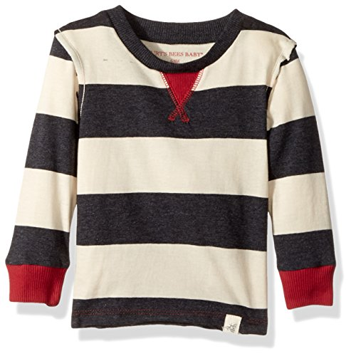 Burt's Bees Baby Baby Organic Long Sleeve Crewneck Tee, Coal Heather Rugby Stripe, 3-6 Months Bee Long Sleeve T-shirt