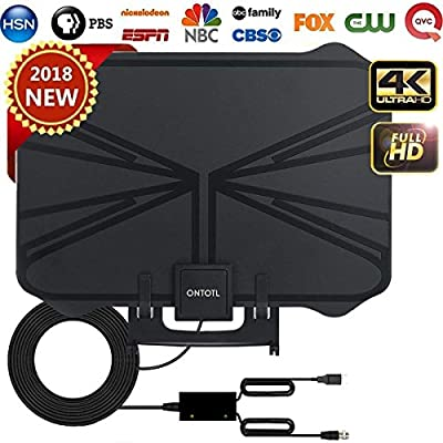 dwf Skywire TV Antenna HD Digital,HD TV Antenna with 60-80 Miles Range Support 4K 1080p,ONTOTL Indoor Digital HDTV Antenna with Detachable Signal Amplifier USB Power Supply and 16.5ft Longer Coax Cable from ONTOTL