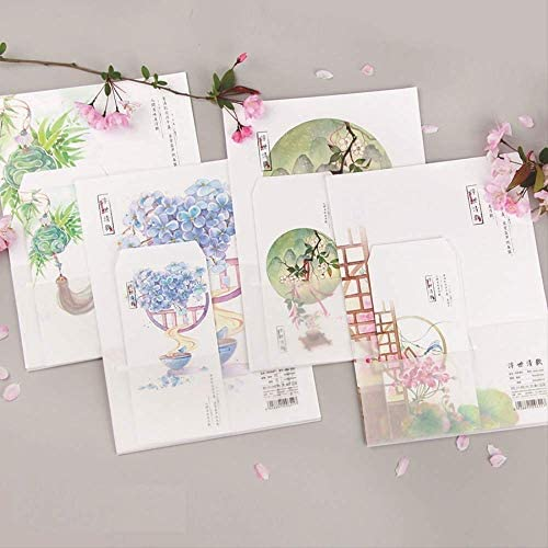 FANGDAHAI Briefpapier Supplies 9Pcs/Set 3 Envelopes & 6 Sheets Letter Paper Chinese classical style Flower series Envelope For Gift Stationery