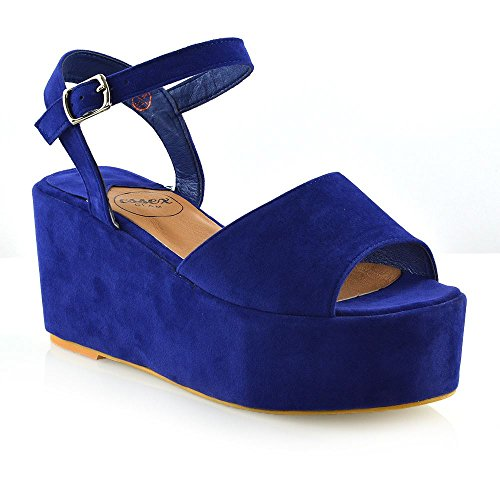 ESSEX GLAM Womens Platform Wedge Heel Sandals Ladies Ankle Strap Peep Toe Shoes Size 3-8 Navy