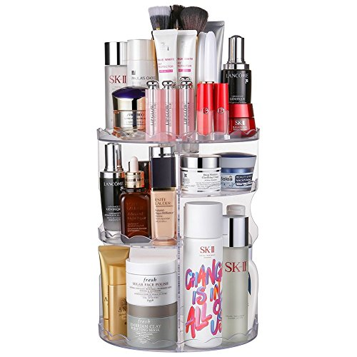 Jerrybox Makeup Organizer 360 Degree Rotation Adjustable Multi-Function Cosmetic Storage Box, Large Capacity, 5 Layers, Fits Toner, Creams, Makeup Brushes, Lipsticks and More (Transparent, Flower) by Jerrybox