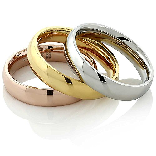 - Stainless Steel Rose Yellow Gold and Silver Three Ring Tri-Color Band Set, Size 5