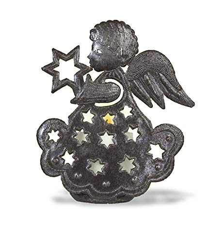 Haitian Hands 'Little Angel Candle Holder' Haitian Handcrafted Metal Art Made from Recycled Steel Barrels