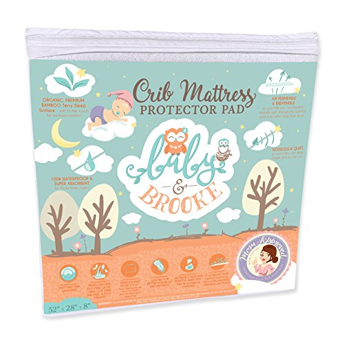 Organic Crib Mattress Cover Pad – Waterproof and Breathable Bamboo Baby Mattress Pad - Fits ALL Standard Crib Sizes by Baby and Brooke