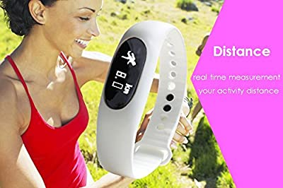 Smart Bracelet,Pashion Bluetooth Sync Smart Bracelet Sports Fitness Tracker Water Resistant(IP64) Sleep Monitoring Smart Bracelet Wristband with Touch Button (White(With Bluetooth))