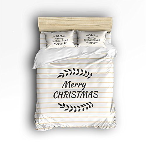 4 Piece Duvet Cover and 2 Pillow Shams Bedding Sets, Breathable Soft Microfiber Merry Christmas Blessing with Willow Leaves on Stripe Background with Hidden Zipper - (Willow Stripe)