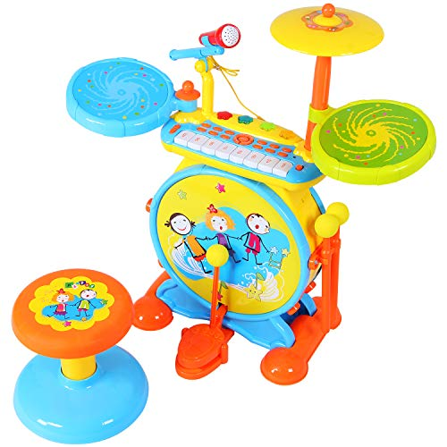 SGILE Drum Set Toy for Kids Boys Girls, Piano Keyboard Drum Set ,Electronic Musical Piano Drum Instrument with Adjustable Vol ,Record, Microphone and Stool,Audio Link Mobile MP3 IPad , Blue