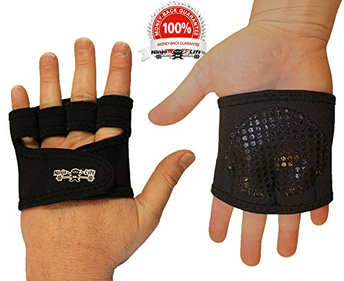(The Ninja Workout Glove, WOD, Callus Guard Workout Gloves, Weightlifting & Cross Training Workouts, Neoprene Padded Gripper Palm, Easy On and Off, Quick Transition, Multifunctional, Black)