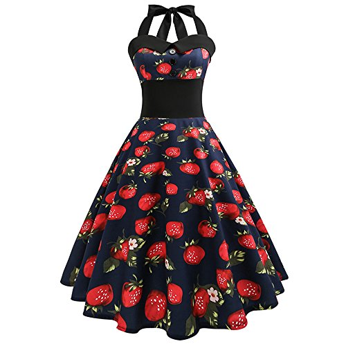 iLUGU Women Vintage Strawberry Printed Bodycon Sleeveless Casual Cocktail Prom Dress ()