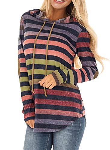 - HOTAPEI Womens Pullover Hoodies Sweatshirts Colorful Striped Print Hooded Tunic Knit Blouses for Women Fashion 2018 Long Sleeve T-Shirt Cotton Cute Casual Tops Multicolor Large