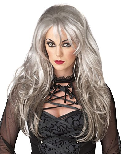 [POPLife Fallen Angel Rock Star Adult Costume Wig - Silver] (Adult Witch Mask With Hat And Hair)